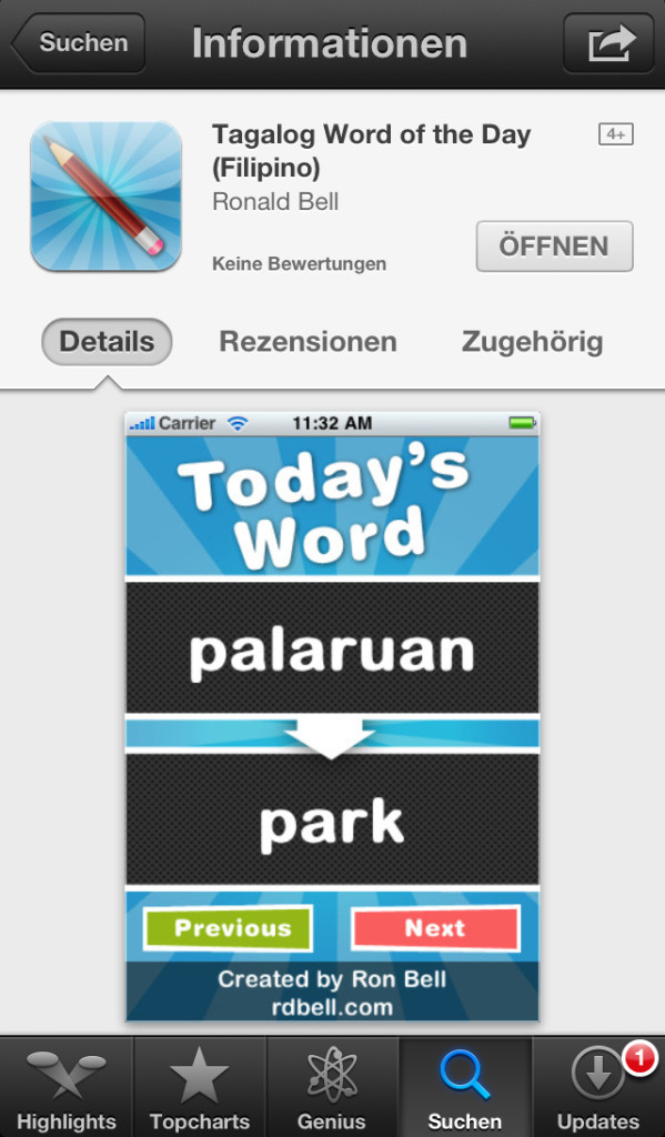 "App ""Tagalog Word of the Day (Filipino)"" (Screenshot)"