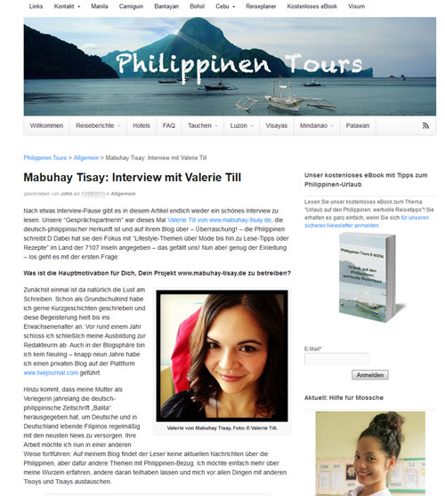 "Das Interview mit mir auf ""Philippinen Tours"" (c) Screenshot von www.philippinen-tours.de"