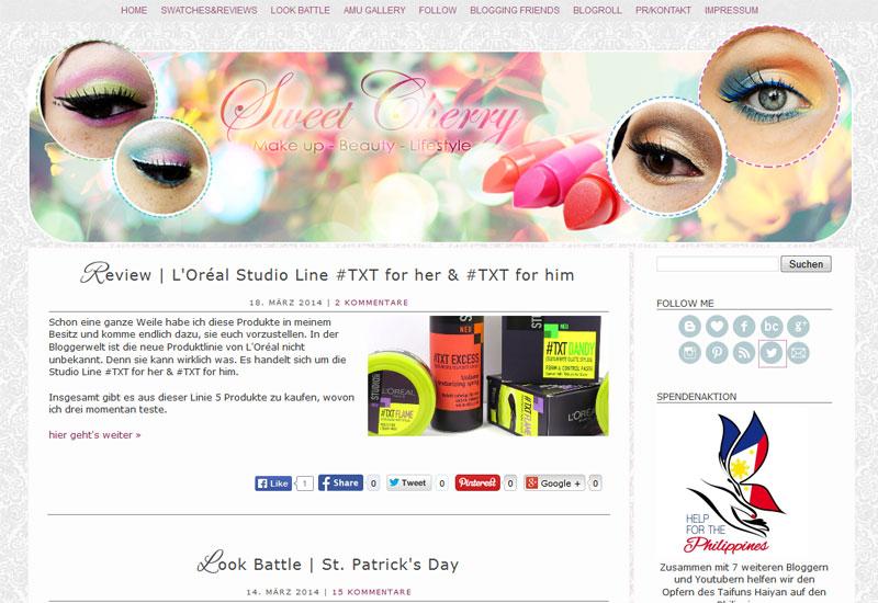 """Der Beautyblog """"Sweet Cherry"""" von der Halb-Filipina Geri © Screenshot"""