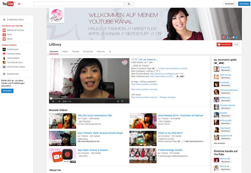 "Der YouTube-Channel ""LilGracy"" © Screenshot"