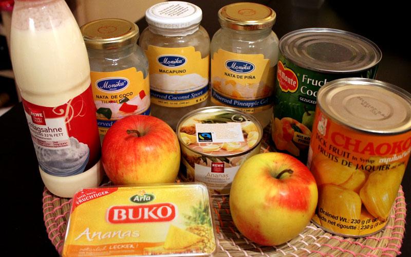 Zutaten für einen philippinischen Obstsalat © V. Till