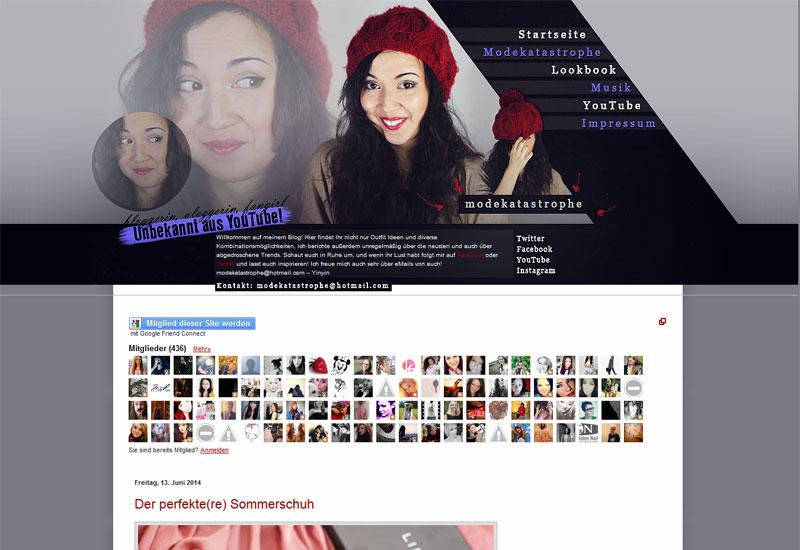 """Der Blog """"Modekatastrophe"""" von Yinyin © Screenshot"""