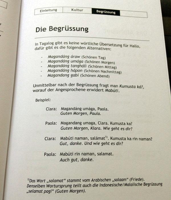 """Die Seite """"Begrüßung"""" im deutschen Tagalog-Lehrbuch """"Tagalog für Anfänger"""""""