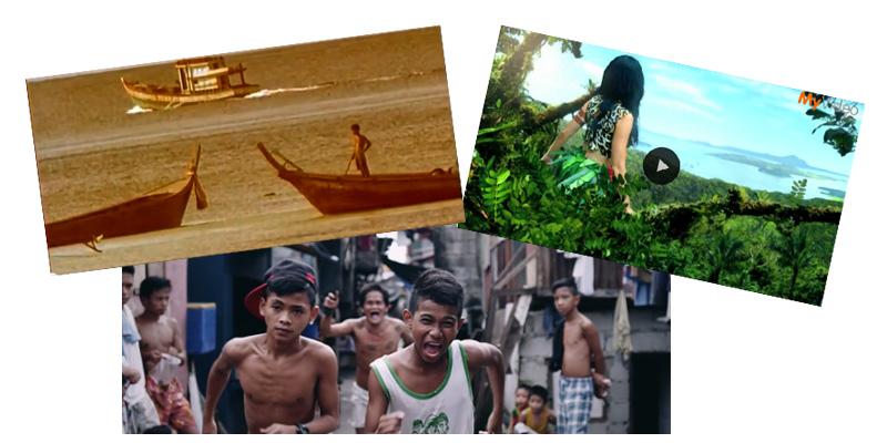 Drei Screenshots von Musikvideos, die auf den Philippinen gedreht wurden.