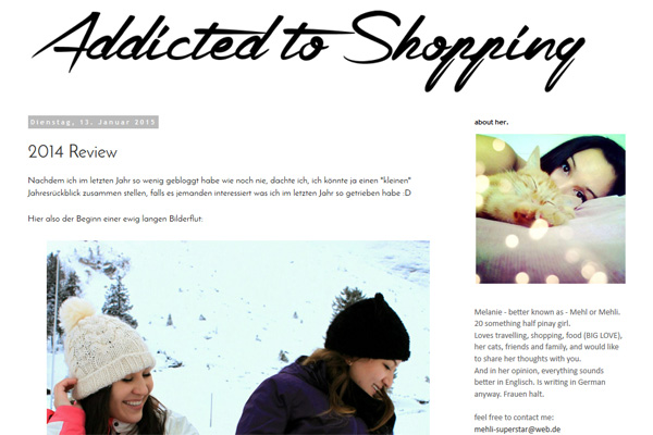 "Screenshot des Blogs ""Addicted to Shopping"""