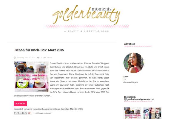 """Der Blog """"goldenbeautymoments"""" von Anne."""