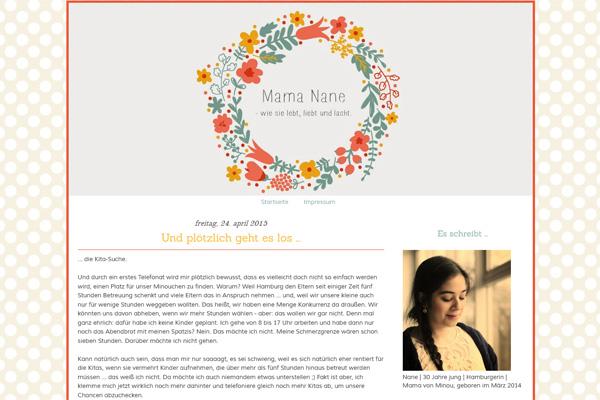 "Screenshot des Blogs ""Mama Nane""."