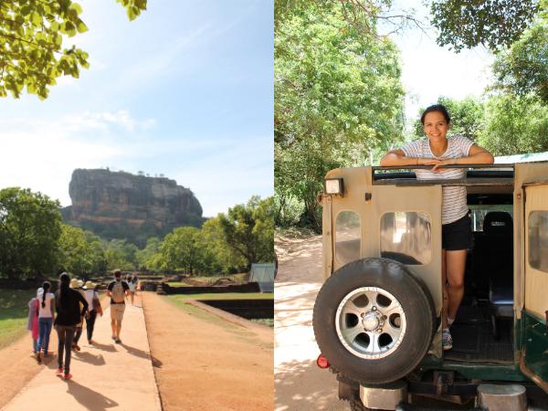 Sri Lanka: Sigirya-Felsen und Valerie vor der Nationalpark-Safari